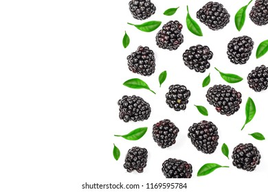 Fresh blackberry isolated on white background with copy space for your text. Top view. Flat lay pattern