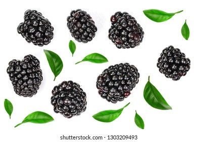 Fresh blackberry with leaves isolated on white background. Top view. Flat lay pattern
