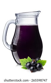 Fresh blackcurrant juice in a pitcher. Full jug of black currant drink.