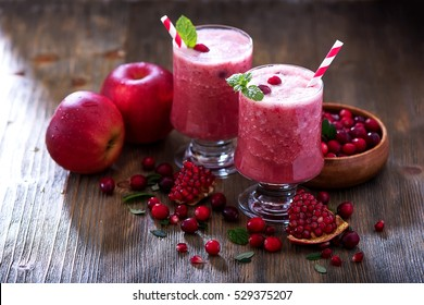 Fresh blended cranberry smoothie, juicy healthy vitamin drink with berries, diet and health concept