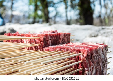 Fresh block of Arrosticini outdoor in a sunny day