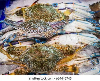 Fresh blue crab, at the seafood market, Thailand.