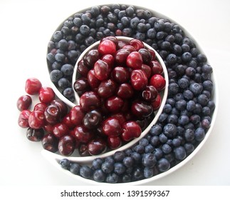 FRESH BLUEBERRIES AND CHERRIES IN A WHITE APOSTROPHE SHAPED BOWL