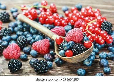 fresh blueberries, currants, blackberries, cranberries and raspberries. Focus berries in spoon