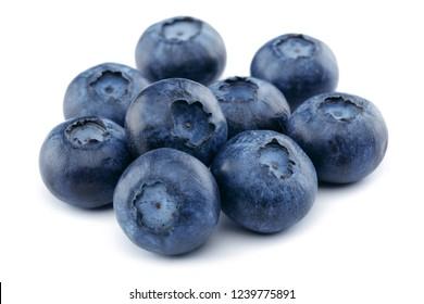 Fresh blueberries isolated on white background. Macro, studio shot