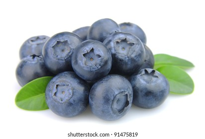 fresh blueberries with leafs on white background