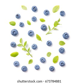 Fresh blueberries and leaves, berry ornament pattern isolated on white background, top view