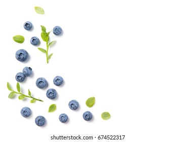 Fresh blueberries and leaves, berry ornament frame on white background, closeup, top view