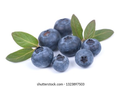 Fresh blueberries on white ground