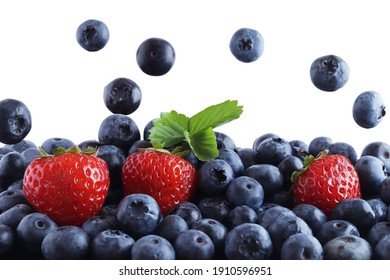fresh blueberries and strawberries on a white background, fruits, moment