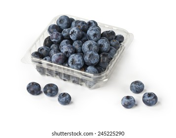 fresh blueberry from forest in plastic container