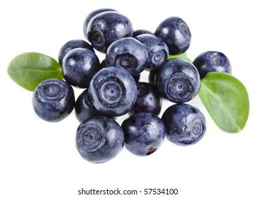 fresh blueberry heap closeup macro isolated on a white background