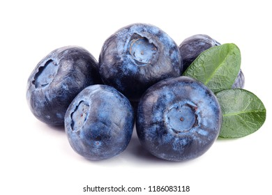 fresh blueberry with leaf isolated on white background