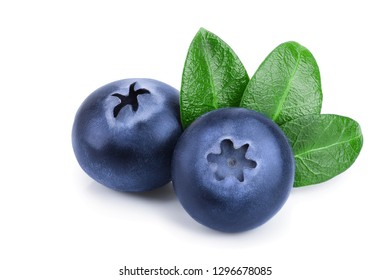 fresh blueberry with leaves isolated on white background closeup