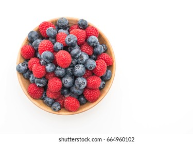 fresh blueberry and rasberry on white background
