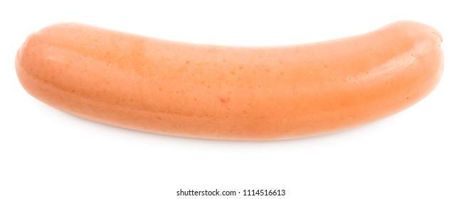 Fresh boiled sausage, isolated on white background