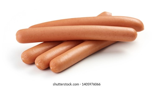 fresh boiled sausages isolated on white background