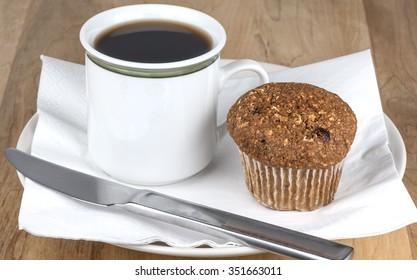 Fresh bran muffin and coffee