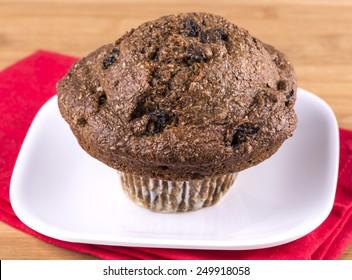 fresh bran muffin with raisins