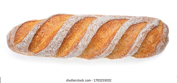 Fresh bread baguette isolated on white background, viewed from above. Food concept.