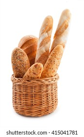 Fresh bread in a basket on a white background