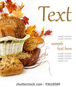 fresh bread in the basket on a white background (With sample text)