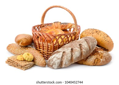 Fresh bread, buns and cookies isolated on white background