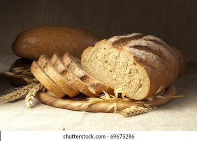 Fresh bread with ear of wheat