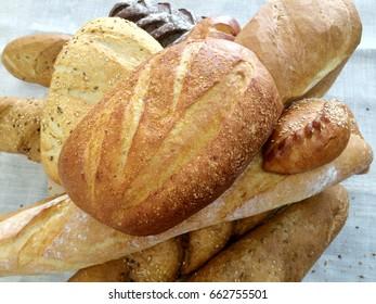fresh bread. Bread loaves background.
