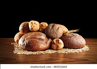 Fresh bread on dark background