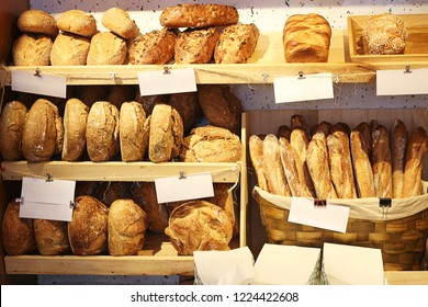 Fresh bread on shelves in a bakery cafe