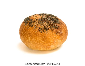 Fresh bread with poppy seed isolated on a white background