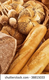 Fresh bread rolls and baguettes
