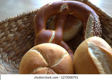 fresh bread rolls in the basket