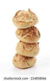 Fresh bread rolls on white background