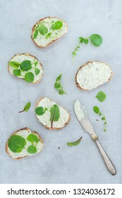 Fresh bread with vegan cream cheese and salad on a light concrete background
