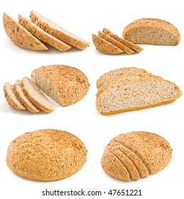 Fresh breads with seeds of sunflower isolated on white background