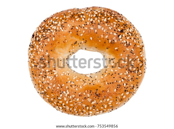 Fresh breakfast bread bagel roll with seeds isolated on white background