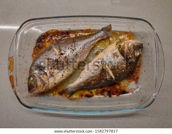 Fresh bream baked in the oven.