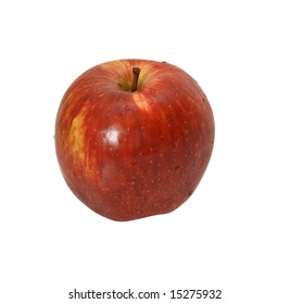 Fresh, brilliant apple of red color on a white background.