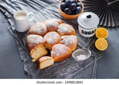 fresh brioche buns with cream cheese - sweet food