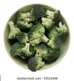 fresh broccoli in bowl isolated on white background
