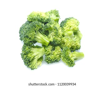 Fresh broccoli in closeup isolated on white background