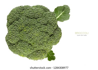 Fresh broccoli head viewed from above, isolated on white background with copy space. Healthy diet food concept with sample text
