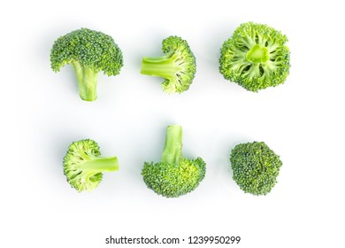 fresh broccoli on white in top view