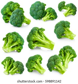 Fresh broccoli set isolated on white background