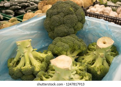 fresh broccoli at the supermarket kiosk. Fresh broccoli on display in the grocery store. broccoli on the shelves in the usual market.