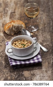 fresh broth with soup pearls