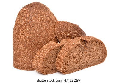 fresh brown bread on a white background