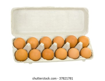 Fresh brown eggs in carton package; isolated on white